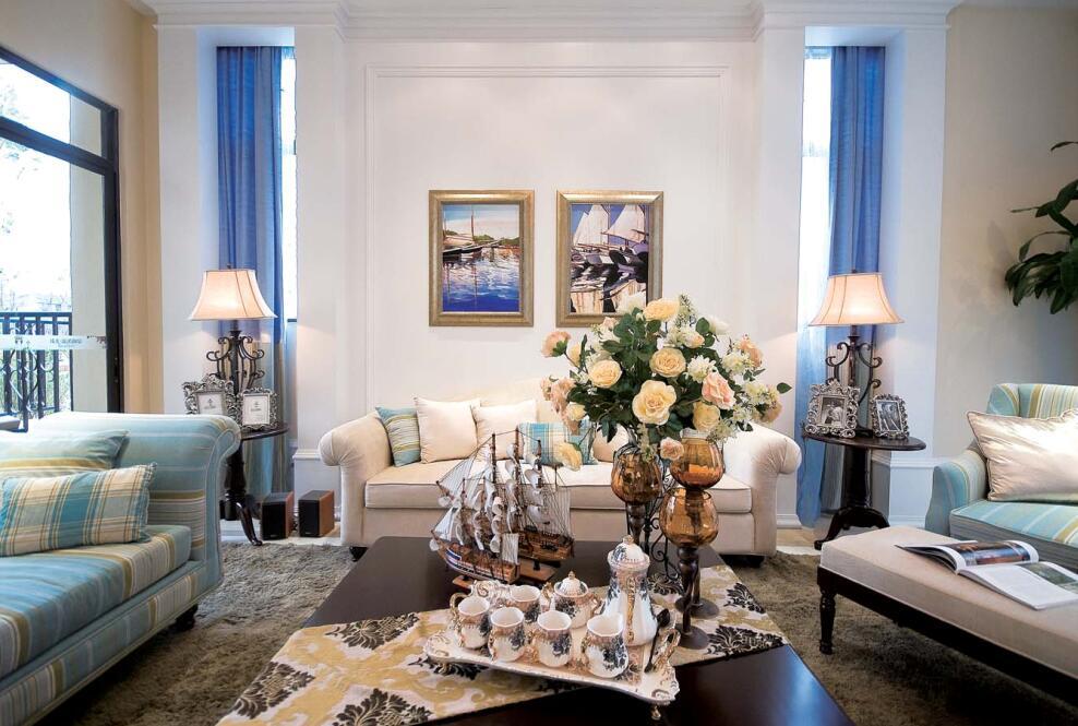 89平美式乡村风格客厅茶几摆放图片 - 九正家居装修图片