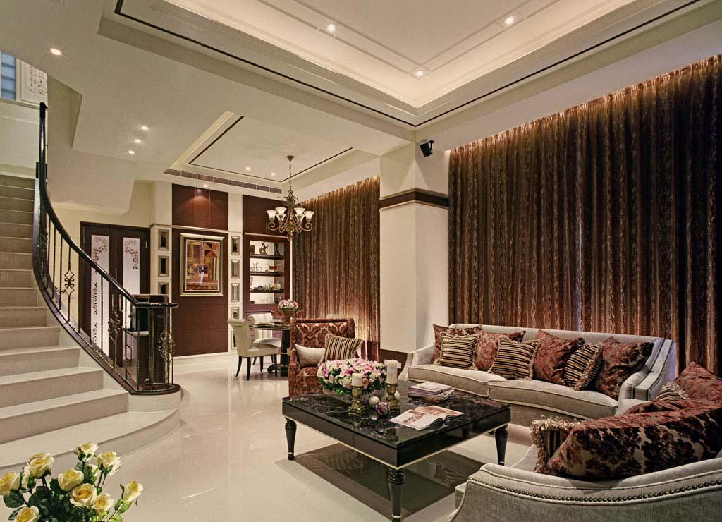 93平米新古典风格别墅客厅楼梯设计效果图 九正家居装修效果图