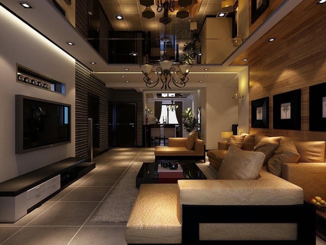 现代简约风格客厅吊顶装潢设计