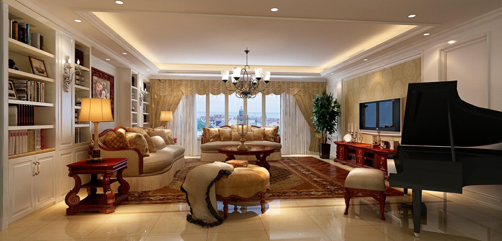家居图库 > 华丽轻奢欧式橙色客厅装潢装饰图
