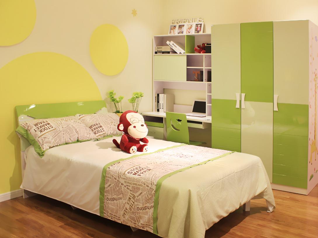 黄色可爱简约风格卧室设计案例 - 九正家居装修效果图