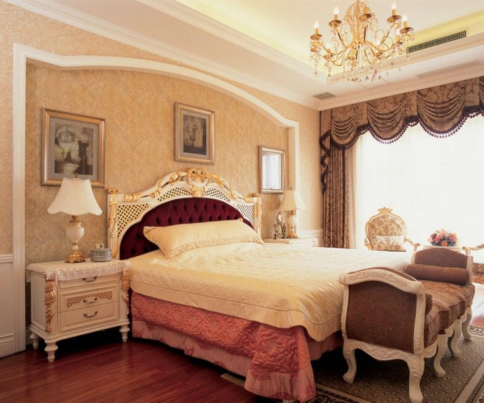 欧式橙色卧室吊顶图片欣赏图片