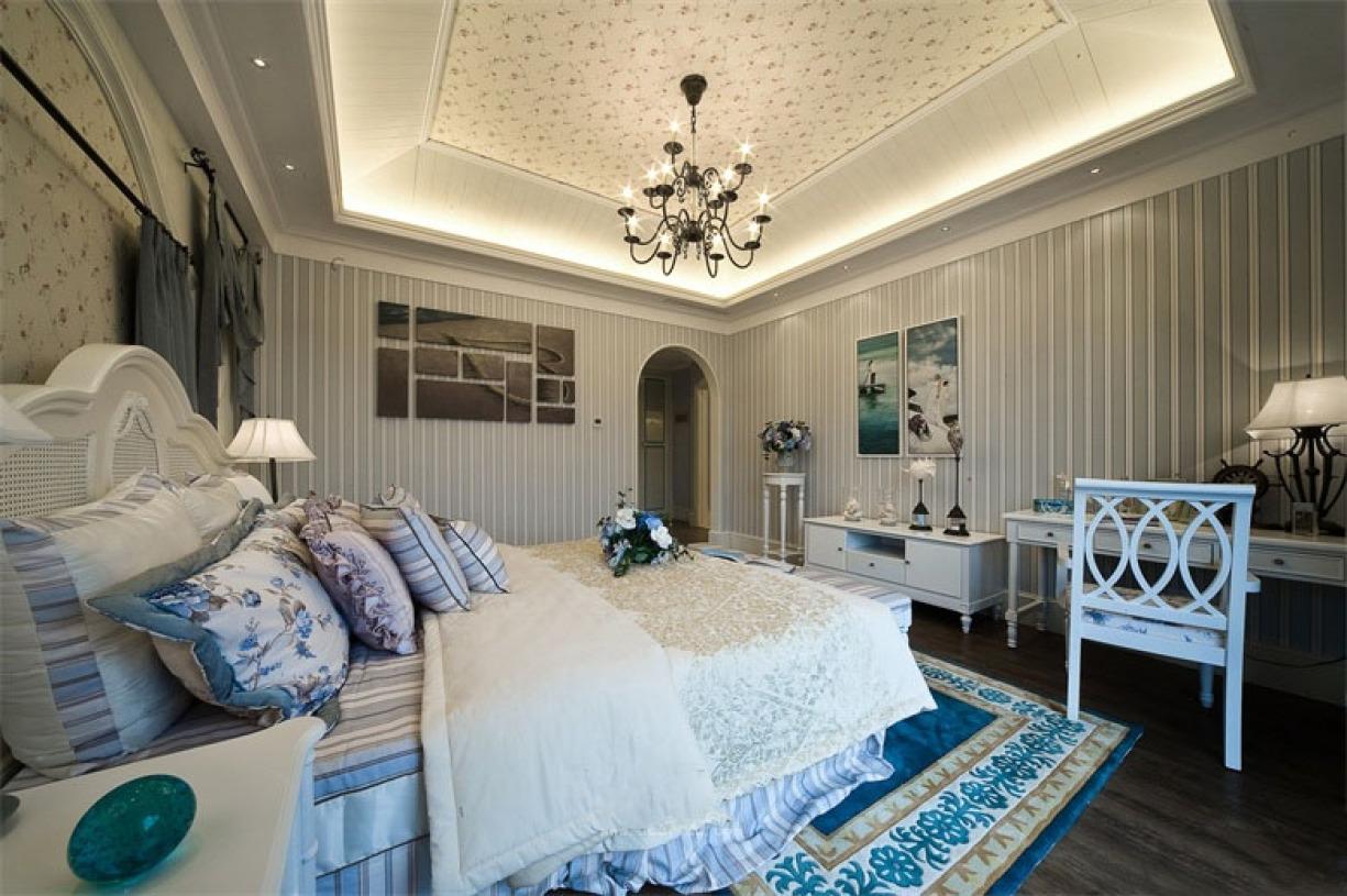 蓝色地中海风格卧室吊顶美图赏析 - 九正家居装修效果
