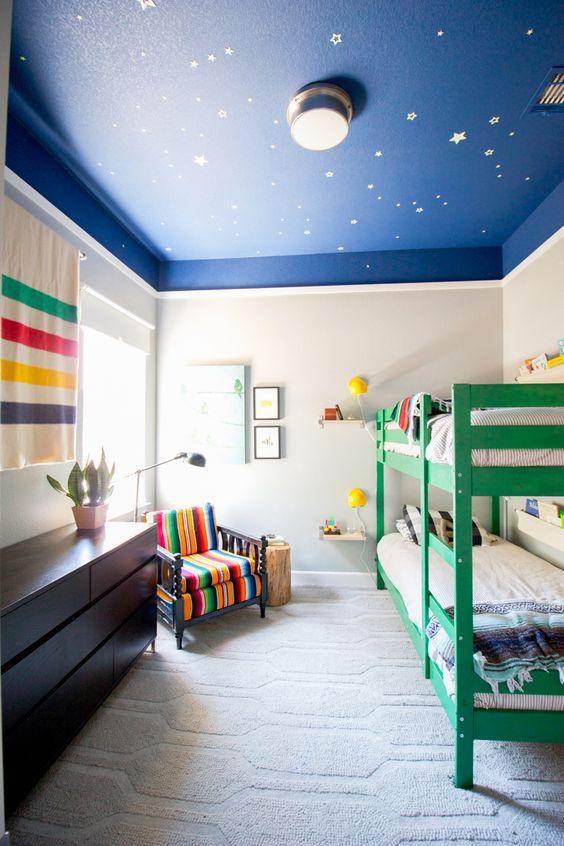北欧儿童房窗帘星空图片