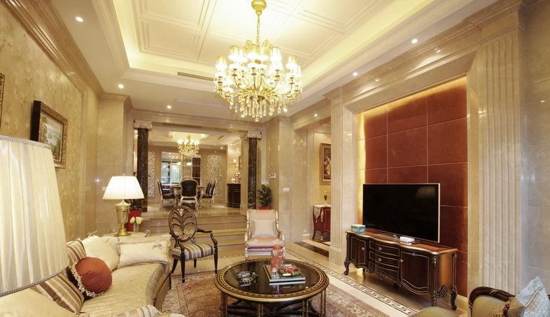 高档装修欧式别墅客厅吊顶效果图图片