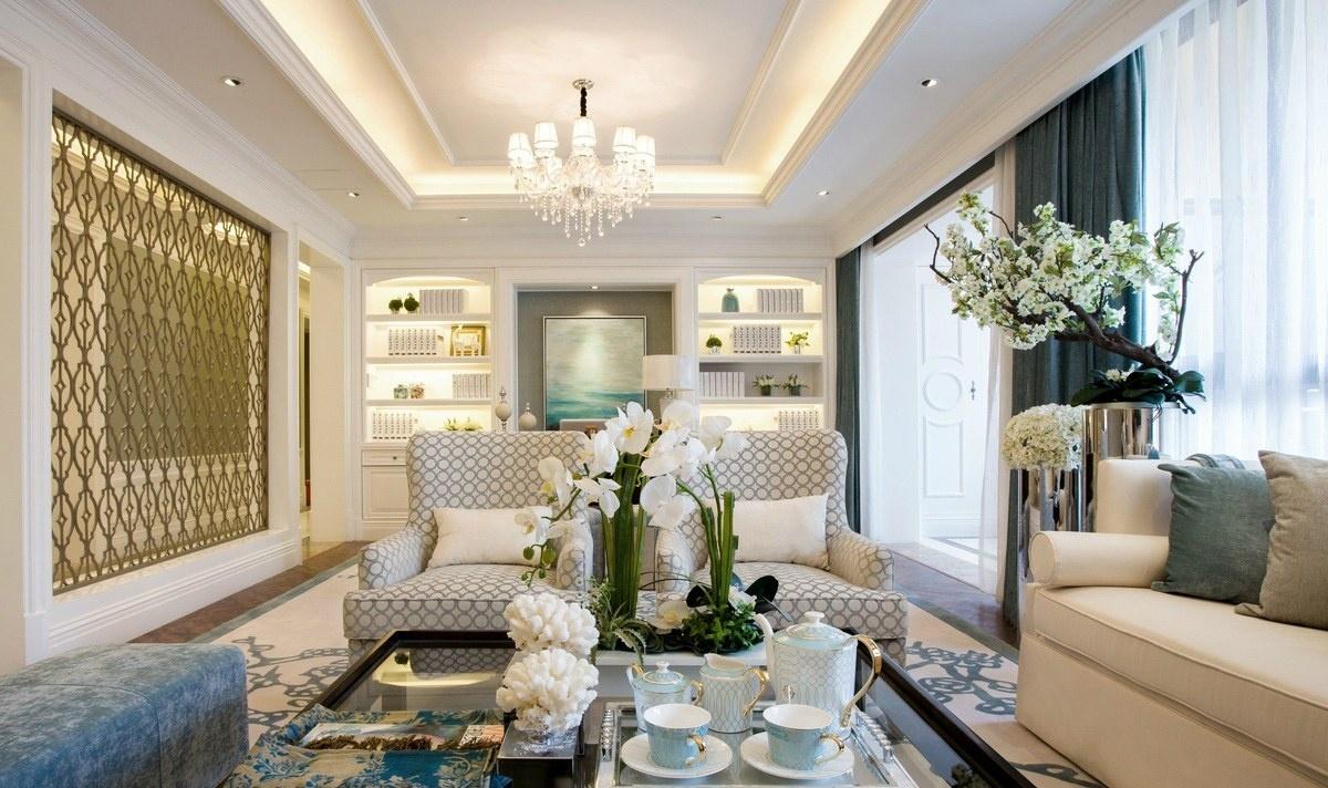 欧式风格客厅水晶灯吊顶装修效果图图片