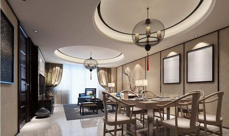 中式风格客餐厅圆形吊顶效果图图片