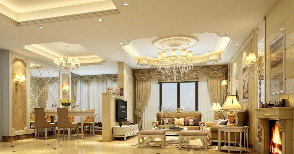 欧式客厅吊顶装饰图片 - 九正家居装修效果图
