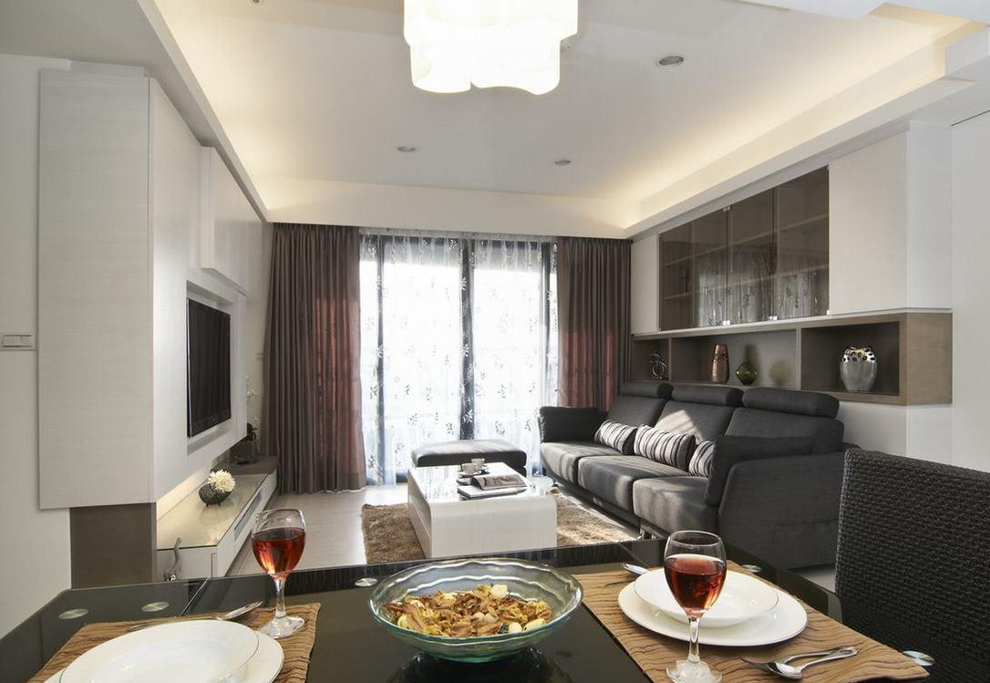 简约白 谱写书香生活四室两厅现代简约客厅餐厅装修效果图设计欣赏图片
