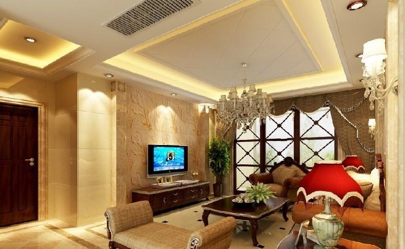 欧式客厅硅藻泥电视背景墙效果图