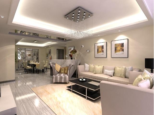 120平梧桐苑现代简约三室两厅现代简约客厅装修效果图设计欣赏