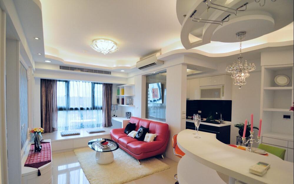 重庆台式家装效果图设计整套案例一室一厅现代简约客厅餐厅装修效果图图片