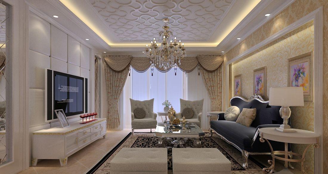 欧式整体客厅软包电视背景墙效果图 - 装修效果图
