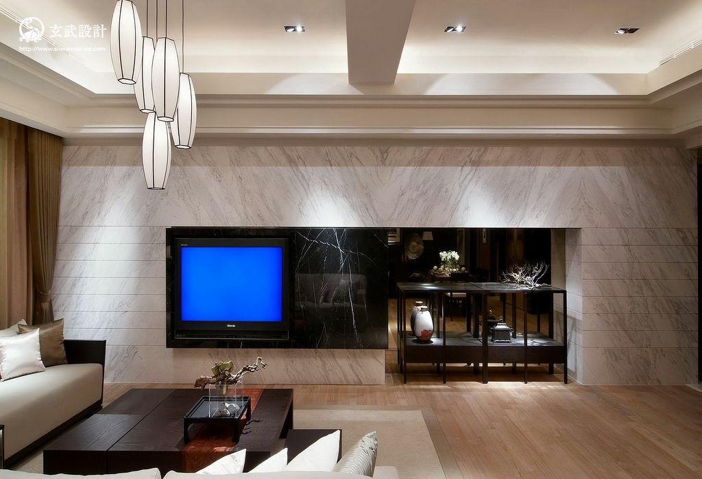 中式客厅大理石电视柜背景墙效果图图片