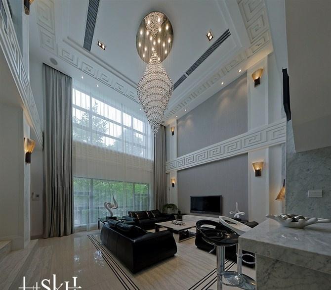 复式楼客厅吊顶水晶灯效果图图片