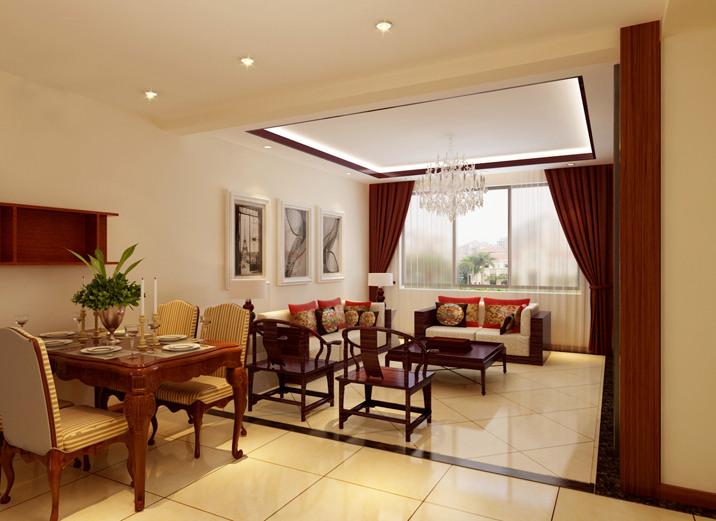 中式客厅吊顶窗帘效果图 - 九正家居装修效果图