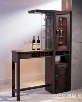 北欧纯色优雅线条实木酒柜设计效果图