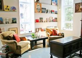 客厅单人沙发茶几搁物架装修效果图