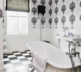 黑白经典配色打造现代复式楼卫生间装修效果图