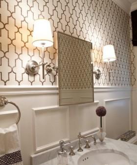 卫生间欧式壁灯壁纸效果图