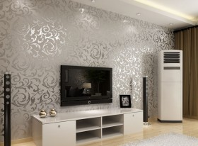 电视墙花纹壁纸装修效果图