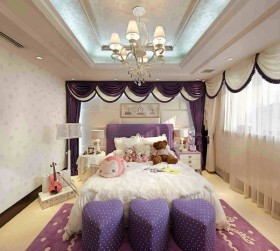 欧式女生卧室吊顶装修效果图