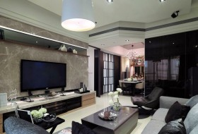 后现代风格二居客厅背景墙装修图片大全2015图片