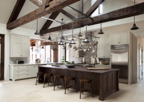 美式风格装修效果图三室两厅美式乡村厨房装修效果图设计欣赏