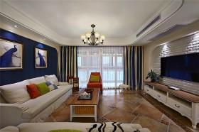蓝色混搭美式客厅设计