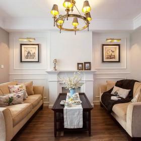 经典美式二居室客厅灯具装饰效果图