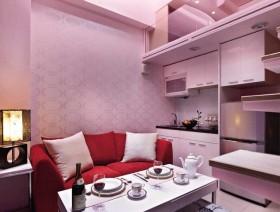 空间整体色系定位为柔美的淡粉红色调,通过壁纸与油漆