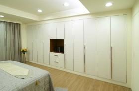 衣柜柜体利用五金及金属框线,延伸现代风格的俐落、简