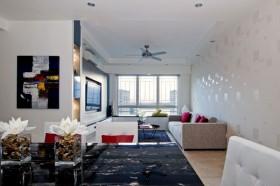 红色基调 简单色彩搭配三居 三居室装修,富裕型装修