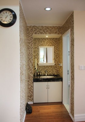 外浴室干区用陶瓷马赛克,质感非常好,没拍微距的,只