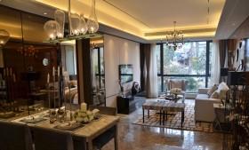 客厅餐厅一体式石膏板吊顶装修设计
