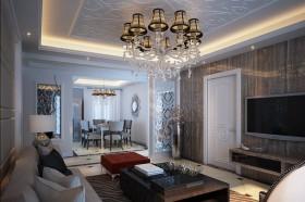 简欧客厅吊灯装饰图片