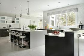 冷色调现代简欧风格三室两厅欧式餐厅装修效果图设计欣赏