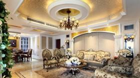 新古典客厅圆形吊灯效果图