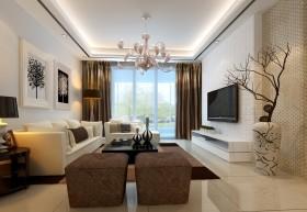 石膏板客厅电视墙设计效果图