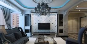 电视机背景墙效果图 三居室欧式客厅电视墙效果图