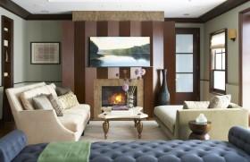 欧式现代风格客厅壁炉背景墙装修效果图
