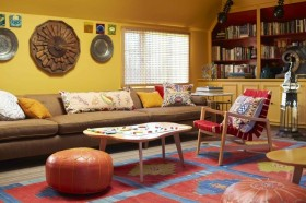 美式两室一厅客厅博古架装修效果图大全2015图片