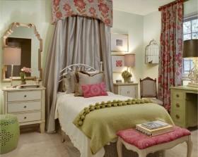 70平米小户型美式田园风格卧室窗帘装修效果图大全2015图片