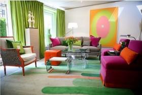 饱和明艳的色彩打造现代风格客厅窗帘装修效果图大全2015图片