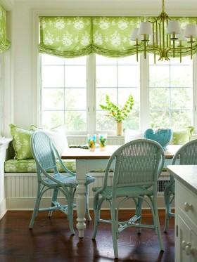 乡村田园餐厅窗帘绿松石的春天和夏天风格的房子