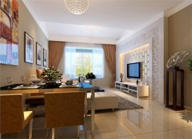 实创整体家装/保利心语现代简约温馨三口之家 三居 简约 客厅 电视背景墙