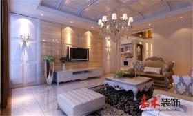 长江瑞景简欧风格装修效果图案例 四居 欧式 客厅 电视背景墙