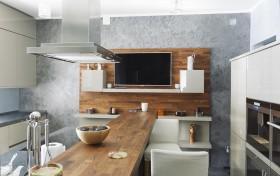 简欧实木橱柜餐桌图片