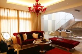 红色水晶吊灯复式客厅效果图图片