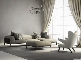 复古吊灯与沙发茶几图片